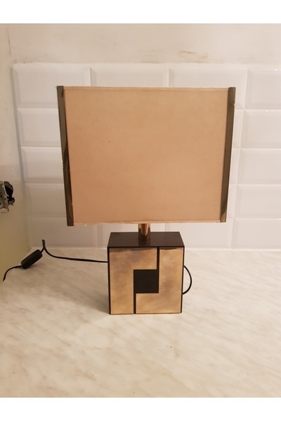 1970 Brass And Laquerd Wood Table Lamp
