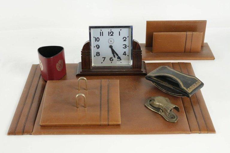 Complete 1940s Desk Set Including Clock