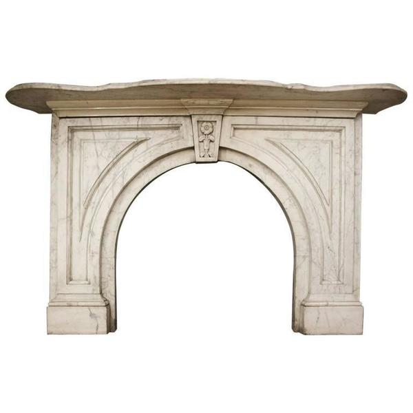 19th Century Mid Victorian Arched Carrara Marble Fireplace Surround