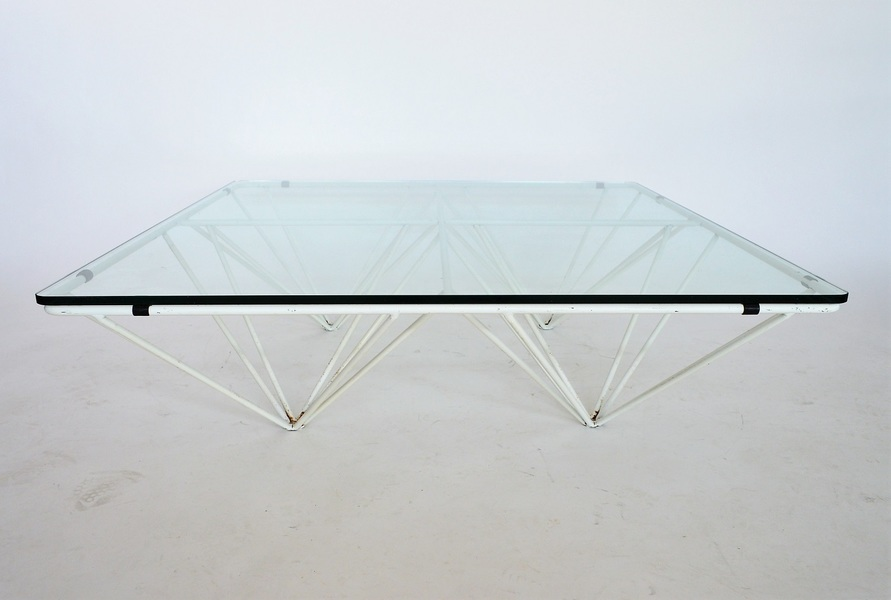 Italian Metal And Glass Coffee Table In The Style Of Paolo Piva