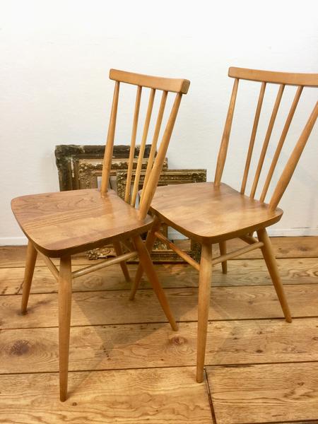 Ercol Stickback Chairs, Pair