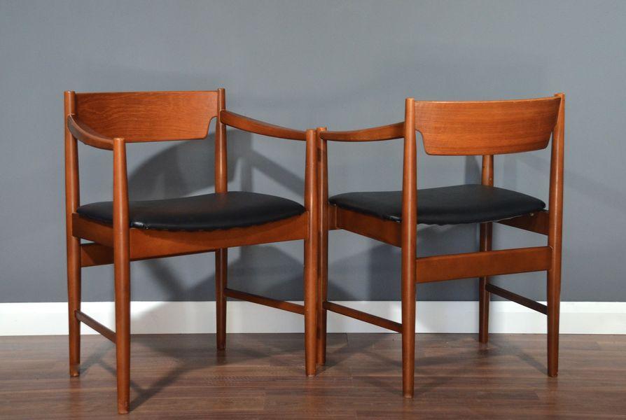 Set Of 2 Vintage Midcentury Teak Carver Chairs