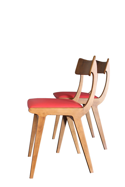 Chairs, Wood, Red Leather