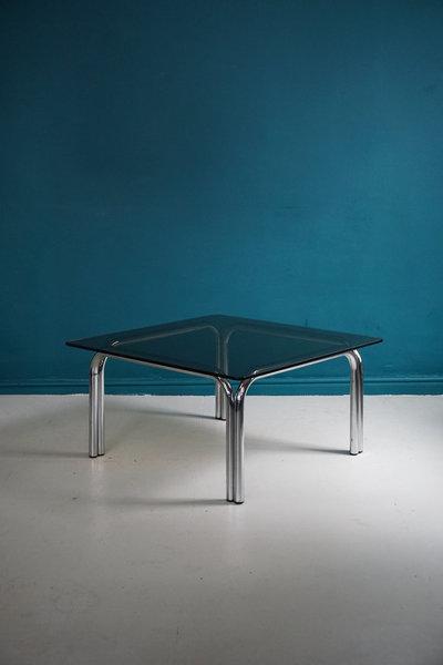 C1970 Rare Pieff 'Kadia' Smoked Glass & Chrome Coffee Table