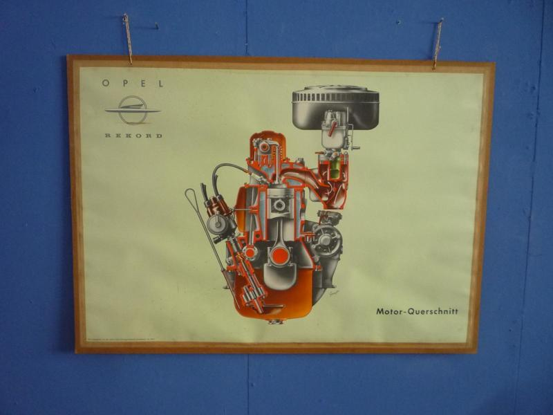 Engine Cross Section Driving School Teaching Board By Opel, 1950s