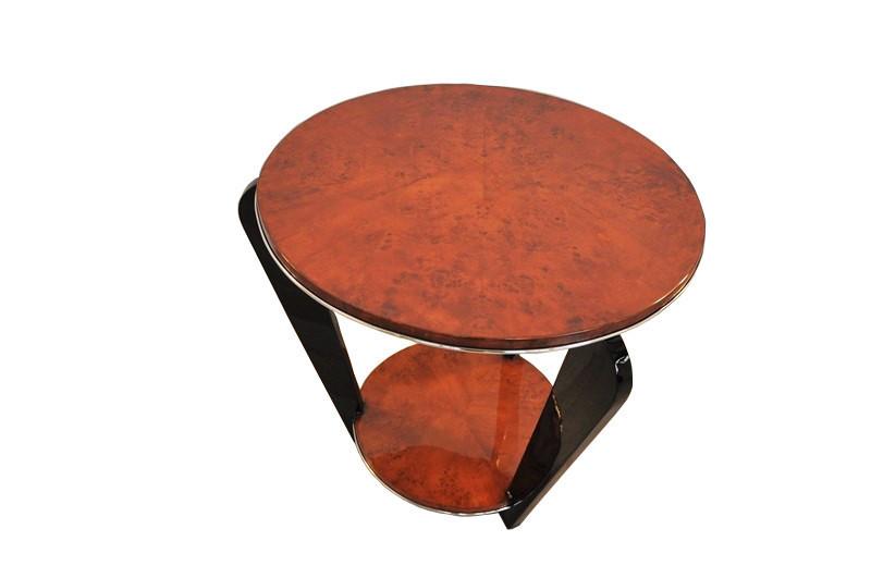 Art Deco Side Table With A Burlwood Veneer