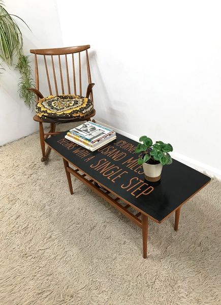 70s Vintage Mid Century Retro Danish Inspired Upcycled Coffee Table With Shelf