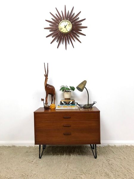 60s Mid Century Retro Industrial Small Avalon Chest Of Drawers Hairpin Legs