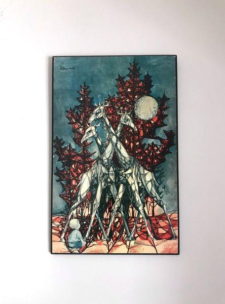 60s Original Mid Century Modernist Athena Print On Board Wall Art Roland Smith