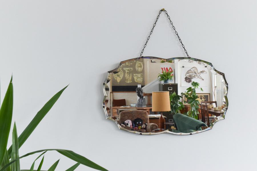Vintage Frameless Mirror With Scalloped Bevel Detail