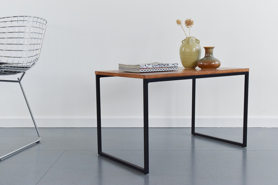Vintage Metal Frame And Wooden Top Coffee Table