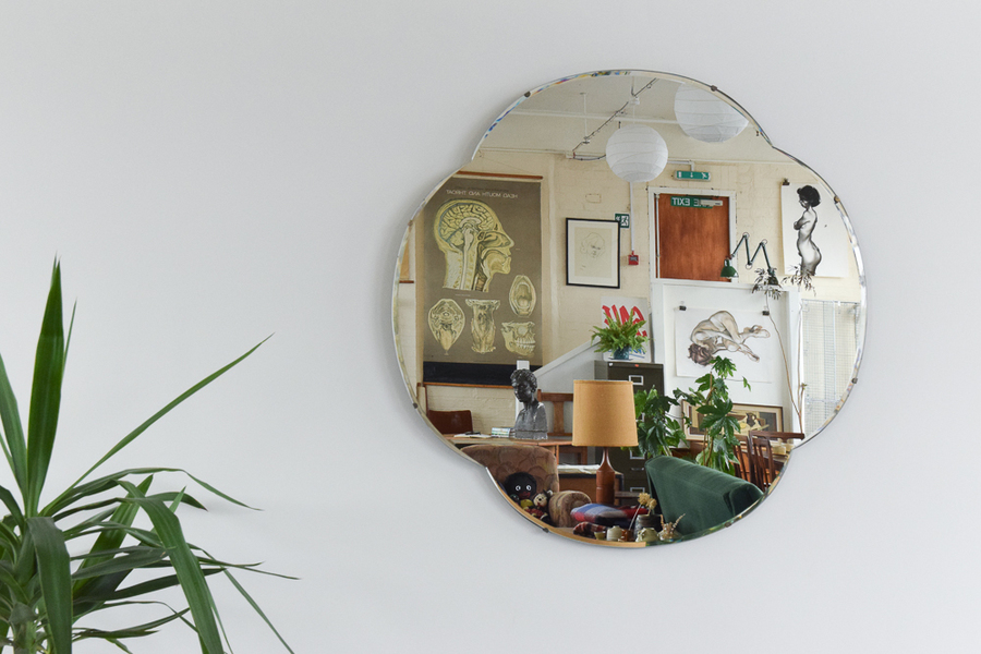 Vintage Very Large Curved Bevelled Mirror
