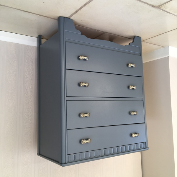 Stunning Vintage Mid Century Painted Upcycled Harris Lebus Grey Chest Of Drawers