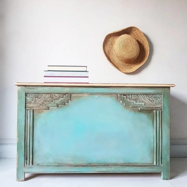 Vintage Deco Painted Rustic Bohemian Oak Blanket Box Storage Chest