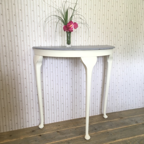 Hand Painted White And Grey Half Moon Console Table