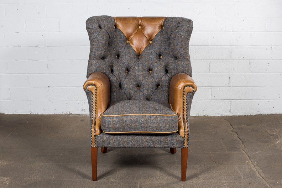 Leather And Tweed Wing Chair