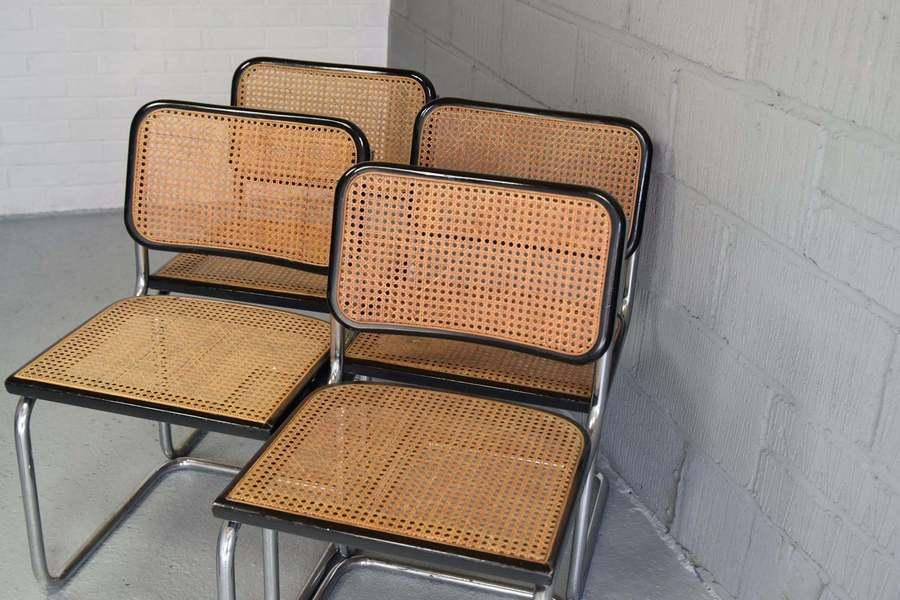 4 Marcel Breuer / Mart Stam Cesca Rattan Mid Century Dining Chairs Vintage