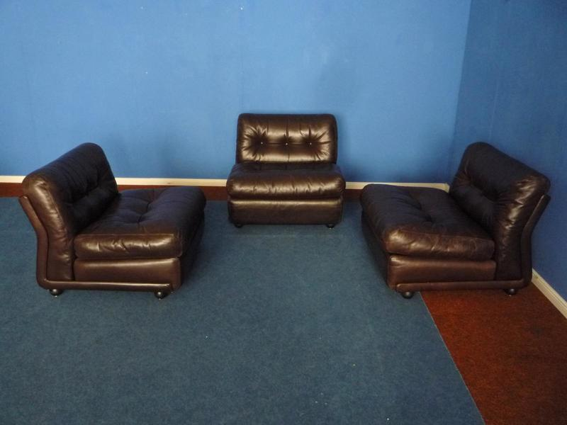 Vintage Amanta Leather Armchair By Mario Bellini For C & B Italia, Set Of 3