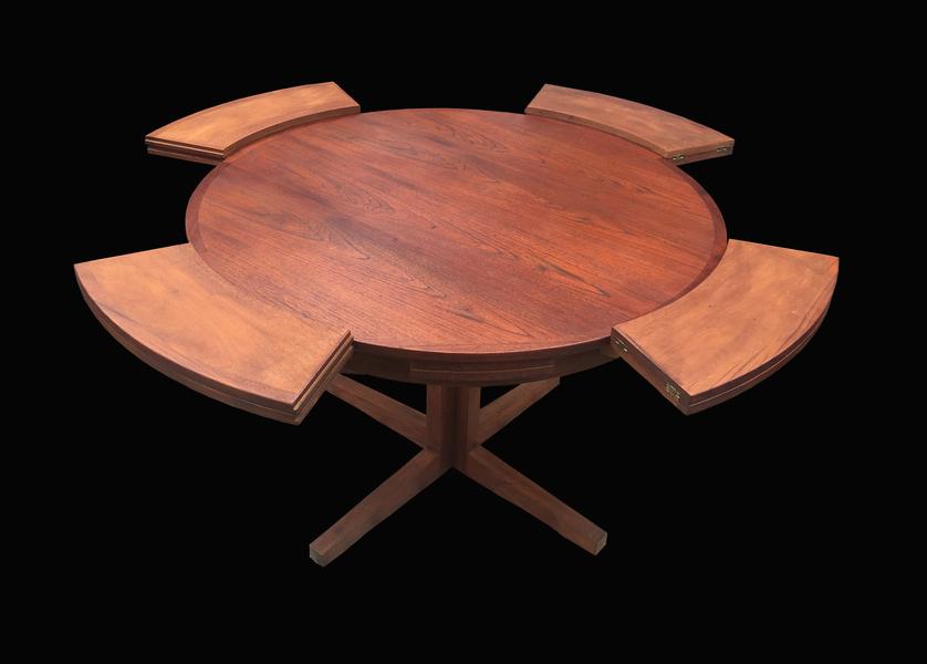 Patent Extending Circular Teak Danish Dining Table By Dyrlund