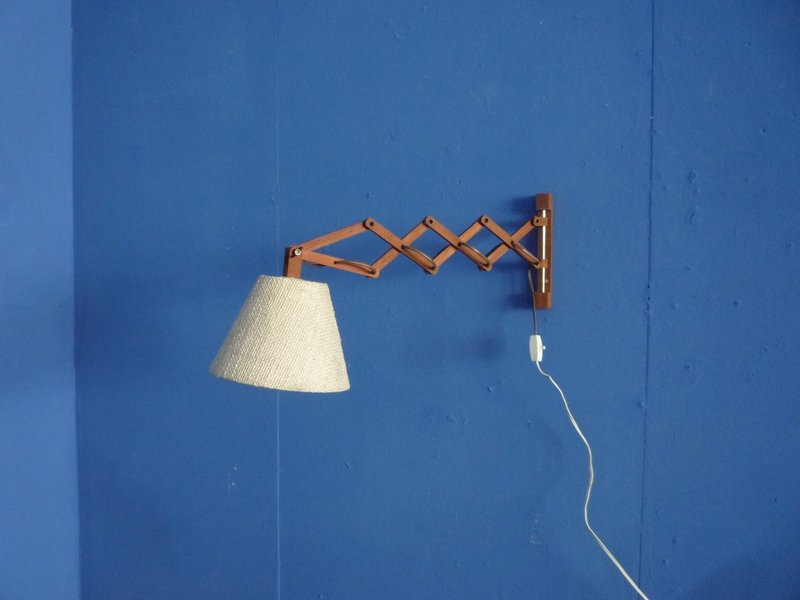 Telescopic Danish Teak Wall Lamp, 1950s