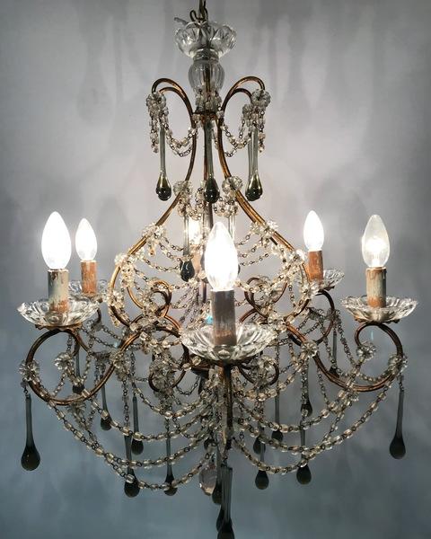 Vintage Murano Glass & Crystal Beaded Macaroni Chandelier