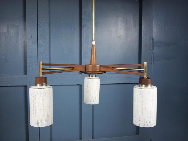 Mid Century Vintage 1960s 70s Teak Ceiling Light Fitting Chandelier