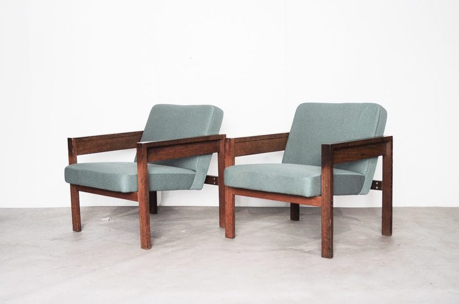 Model Sz25/Sz80 Wenge Lounge Chairs By Hein Stolle For 'T Spectrum, 1960s, Set Of 2