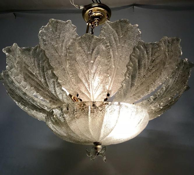 Large Midcentury Murano Glass Flushmount