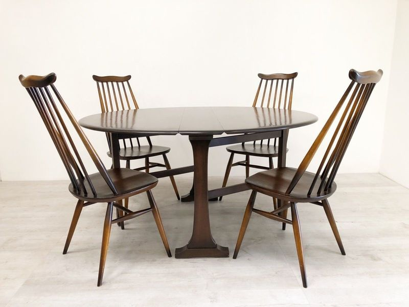 Ercol Vintage Mid Century Dark Drop Leaf Dining Table And Four Goldsmith Chairs