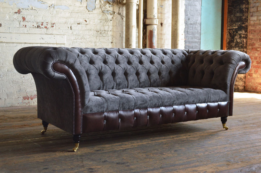 Antique Chesterfield. Recovered Reworked Slate Grey Velvet And Dark Brown Leather Sofa.