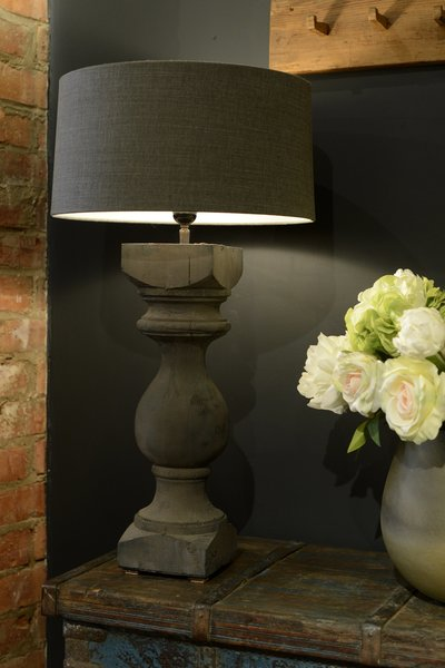 Vigonza Wooden Table Lamp  Black Grey