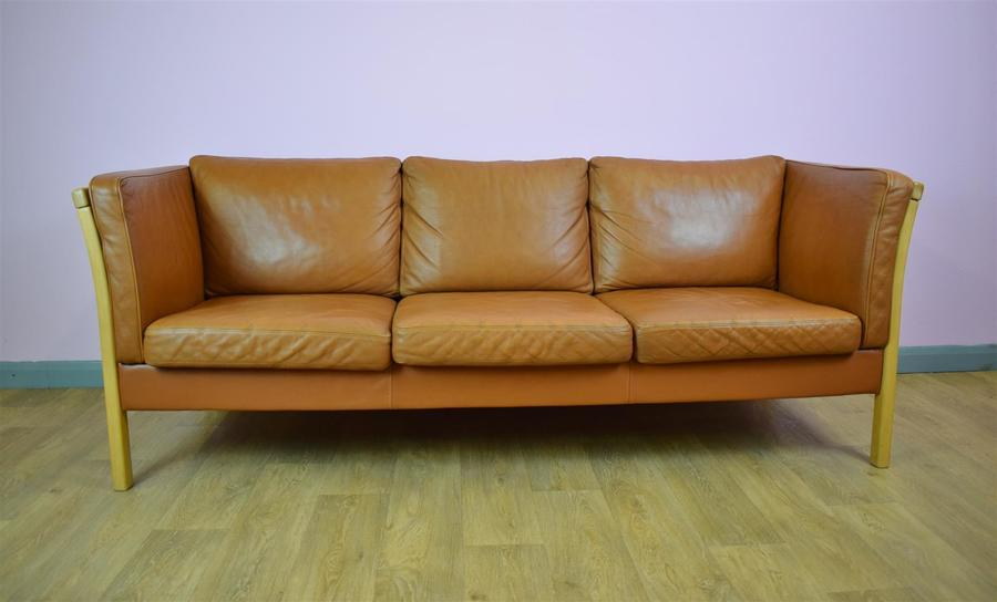 Mid Century Retro Danish Tan Leather 3 Seater Sofa Settee By Stouby 1970s