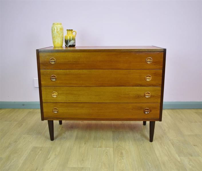Mid Century Retro Vintage Danish Rosewood Bedroom Chest Of 4 Drawers 1960s 70s