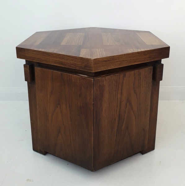1960s American Brutalist Hexagonal Oak Cabinet / End Table, By Lane Furniture