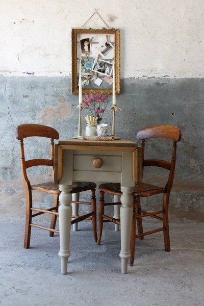 Sweet Rustic Vintage Pine Drop Leaf Table With Cutlery Drawer In Country Grey