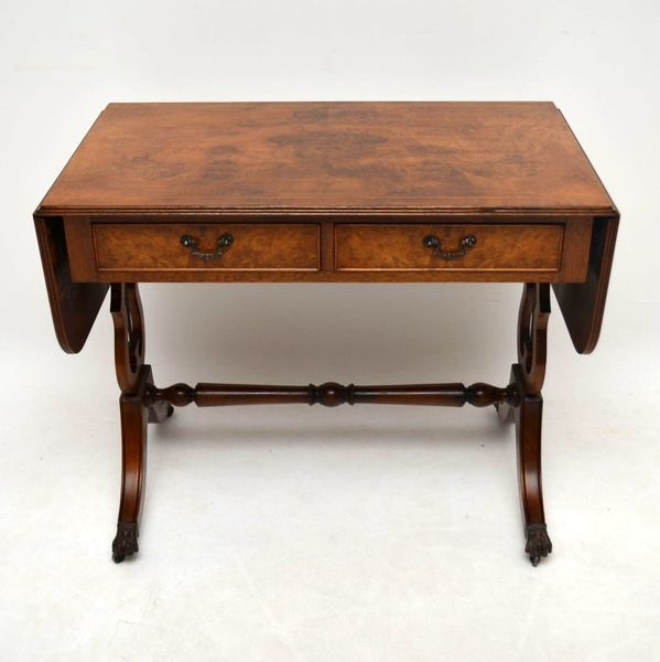 Antique Regency Style Burr Walnut Sofa Table