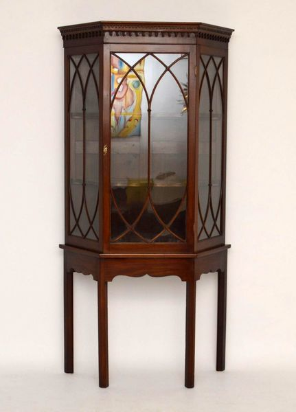Antique Mahogany Display Cabinet On Stand