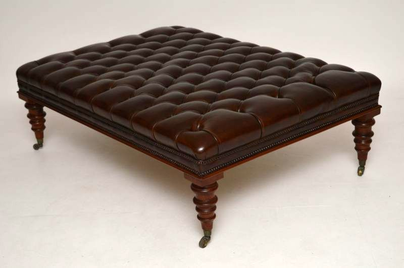 Leather Deep Buttoned Stool Coffee Table