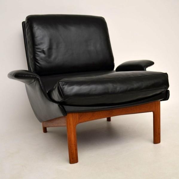 Danish Leather & Teak 'Eve' Armchair By Ib Kofod Larsen