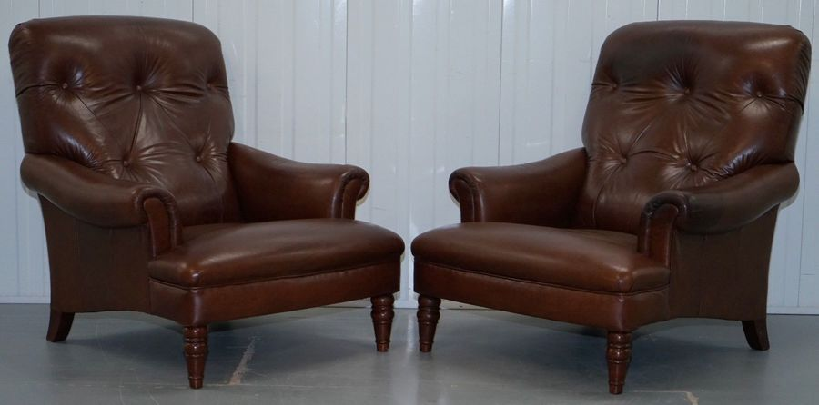 Pair Of Large Brown Leather John Lewis Lounge Armchairs Chesterfield Buttoned