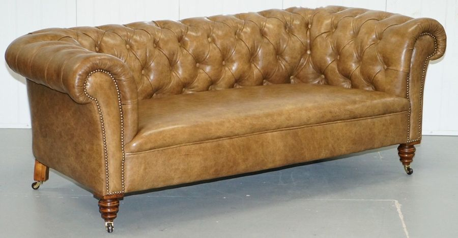 Restored Victorian Walnut Framed Chesterfield Club Sofa Heritage Brown Leather
