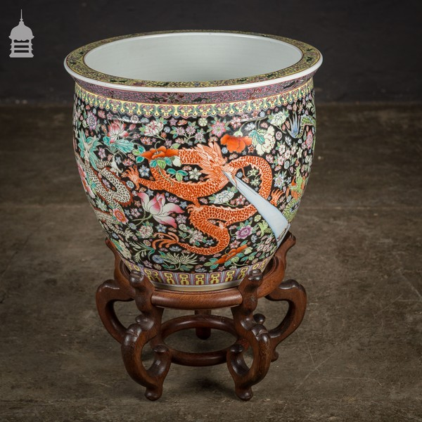 Large Early 20th C Chinese Jardinière Planter Fish Bowl On Hardwood Stand