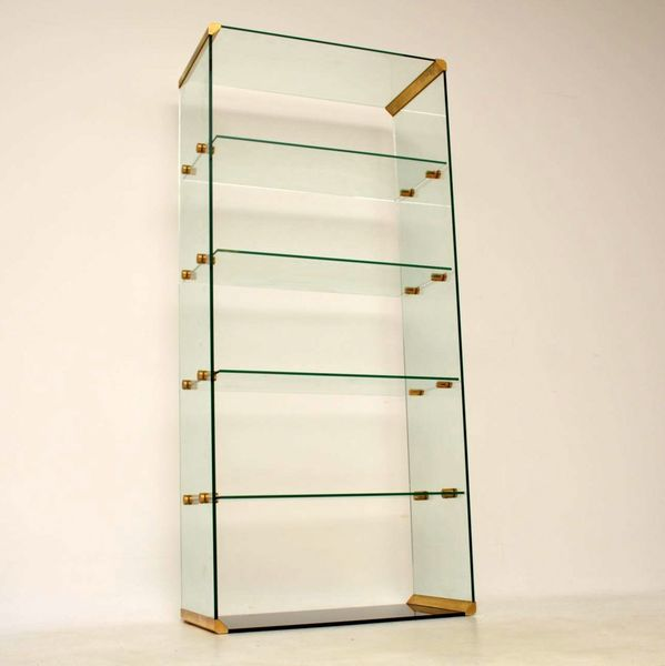 1970's Vintage Italian Glass & Brass Bookcase / Display Cabinet