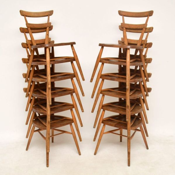 1950's Ercol Blue Dot Childs Dining Chairs – Set Of 12