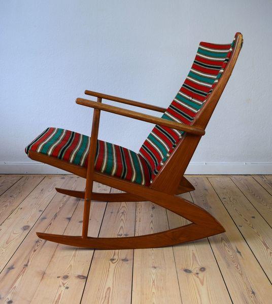 Danish Atomic 97 Teak Rocking Chair By Holger Georg Jensen For Kubus, 1950s