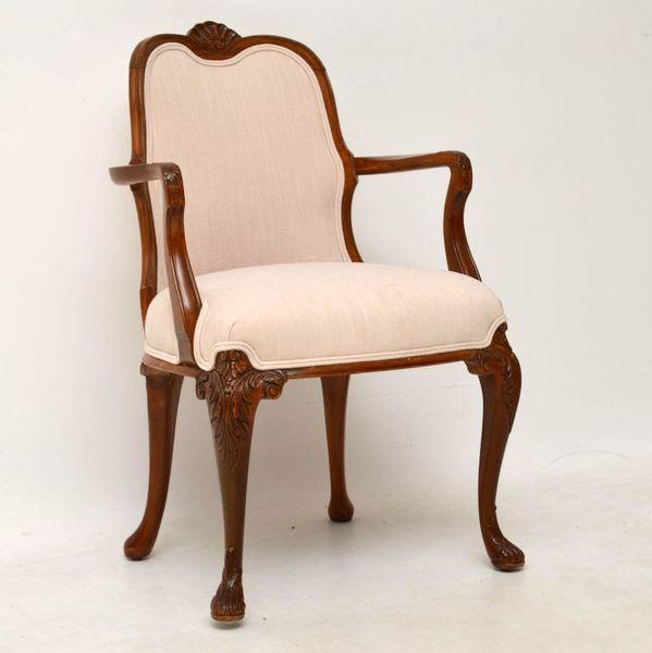 Antique Queen Anne Walnut Salon Armchair