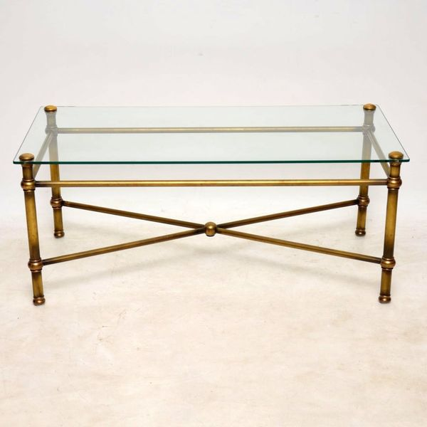 1950's Vintage Brass Coffee Table