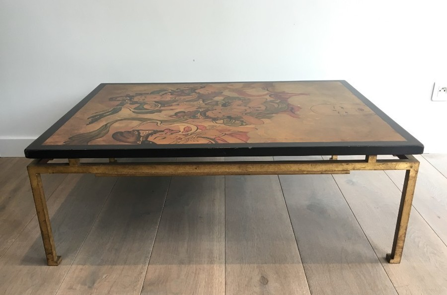 Maison Ramsay Special Order Amazing Coffee Table With Lacquered Top Representing Tibetans Gold Gilt Steel Base