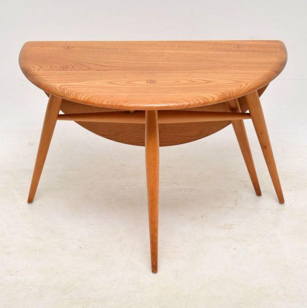 1960's Vintage Ercol Drop Leaf Coffee Table In Solid Elm