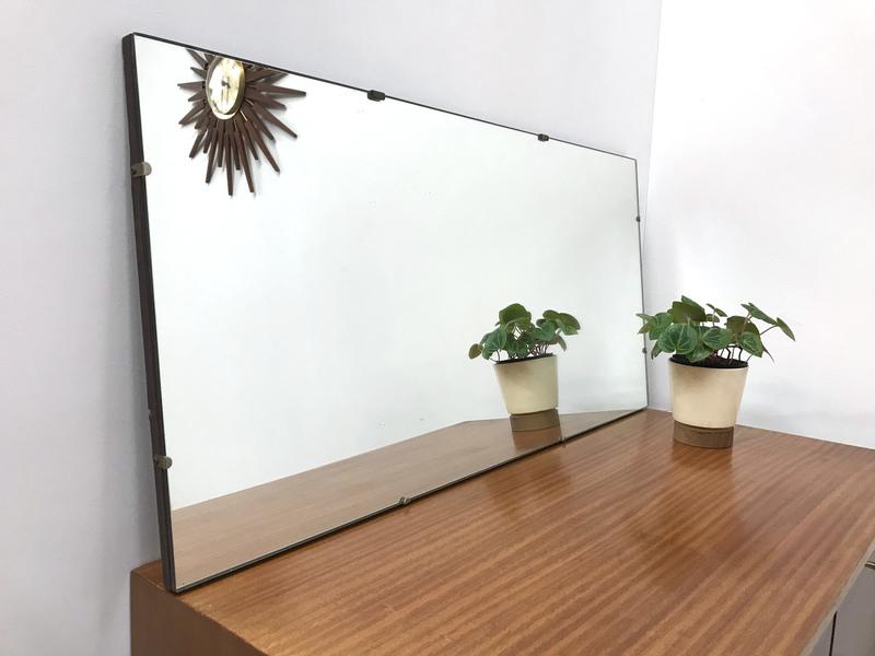 60s Original Retro Vintage Oak Bevelled Mirror